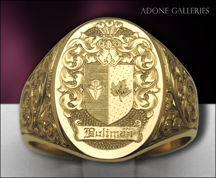 Adone Galleries Hand Engraved Coat Of Arms Signet Ring