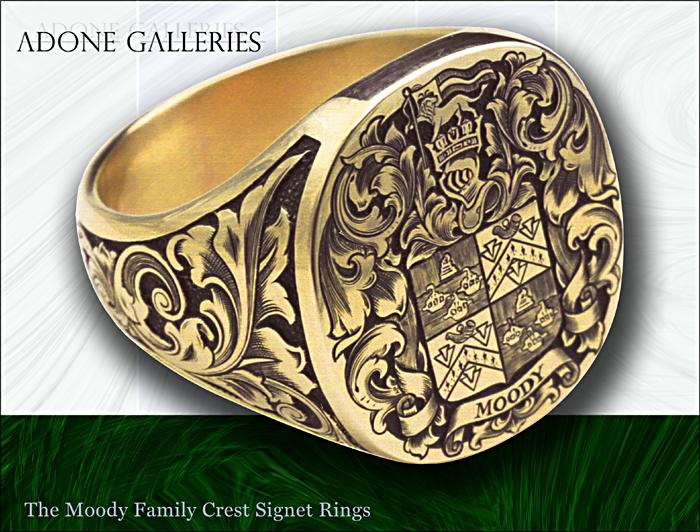 Adone Galleries 14K Gold Moody Family Crest Male ring