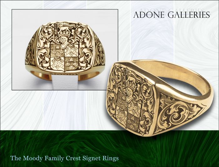 Family Crest Rings on Adone Galleries  Lady S 14k Gold Family Crest Ring