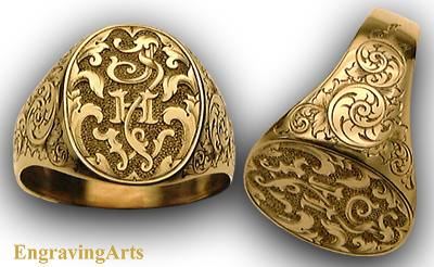 pozzobon by signed t gold scroll signet rings engraved english adone ring