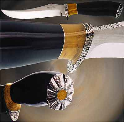 Fixed blade knife, english scroll