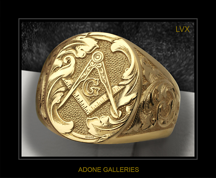 hand engraved mason ring